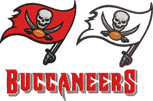 NFL Tampa Bay Buccaneers inspired Machine Embroidery design. Filled and Applique Designs. 5 Designs Multiple Sizes