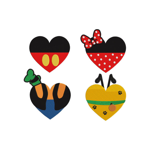 BUNDLE - Disney Characters as Hearts - Mickey, Minnie, Goofy &  Pluto inspired Machine Embroidery Design. 4 Sizes