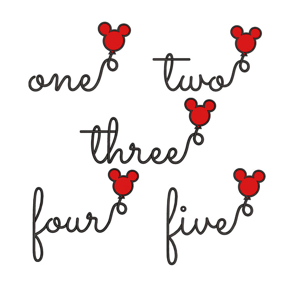 BUNDLE - Disney inspired First, Second, Third, Fourth and Fifth Birthday Machine Embroidery Design