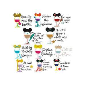 Disney Princess Inspired Wine Glasses Machine Embroidery Designs Collection 11 Designs. 6 Sizes