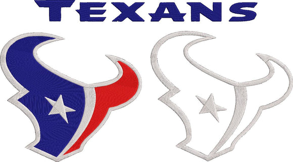 NFL Houston Texans inspired Machine Embroidery design. Filled and Applique Designs. 3 Designs Multiple Sizes