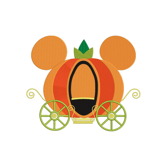 Disney Cinderella Pumpkin Carriage Halloween Machine Embroidery Design File. 5 sizes