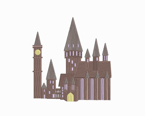 Harry Potter inspired Machine Embroidery Design. Hogwarts Castle 4 Sizes