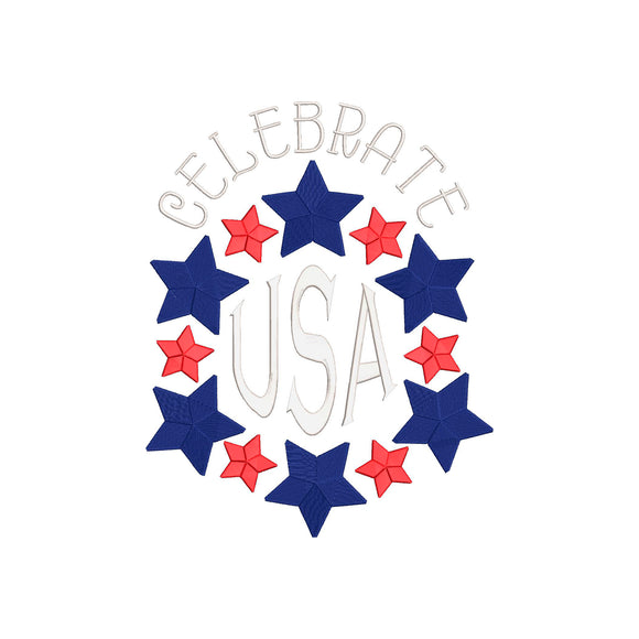 Fourth of July Machine Embroidery Design. Celebrate USA.