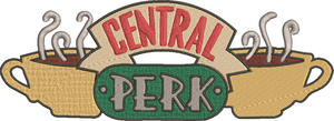 Friends TV inspired Machine Embroidery Design. Central Perk.  Coffee Shop, the Friends Hang out, 8 sizes Can be personalized