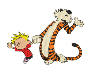 Calvin & Hobbs Dancing!   Comic Inspired Machine Embroidery Design.  5 sizes