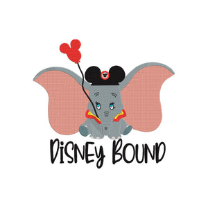 Disney Dumbo Inspired Disney Bound Machine Embroidery Design.  2 Sizes