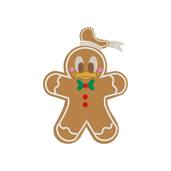 Disney Inspired Machine Embroidery Christmas Design. Donald Duck Gingerbread Cookie.