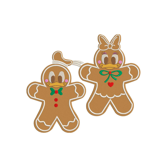 BUNDLE -  Disney Inspired Machine Embroidery Christmas Design. Donald and Daisy Duck Gingerbread Cookie.