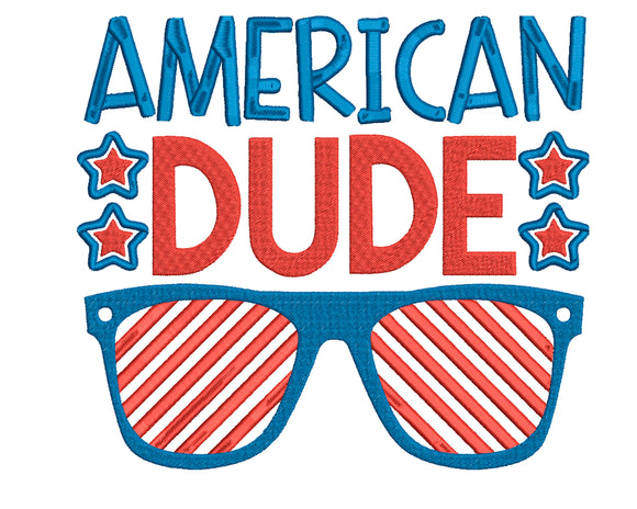 Fourth of July Machine Embroidery Design. American Dude. 8 sizes