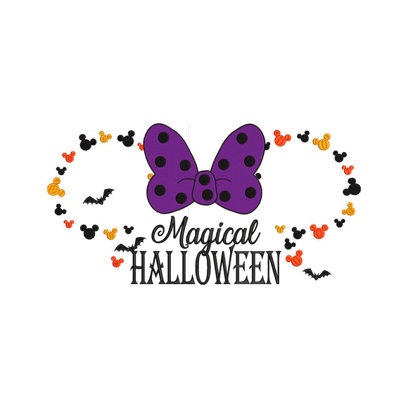 Disney inspired Mickey Ears Halloween Magical Halloween Machine Embroidery Design File. 6 sizes