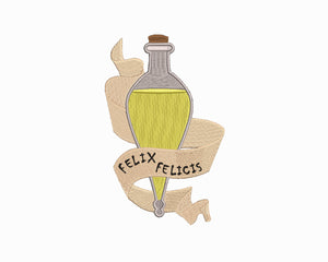 Harry Potter inspired Machine Embroidery Design.  Felix Felicis Liquid Luck