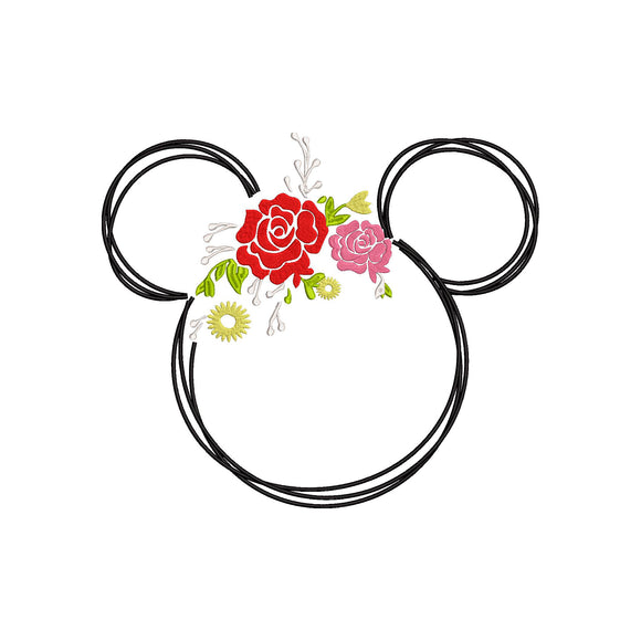 Disney inspired Floral Minnie Spring Wreath Machine Embroidery Design. 2 Sizes Perfect for Epcot Flower & Garden  Festival