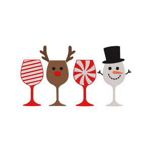 Christmas Wine Glasses Machine Embroidery Design. 5 Sizes