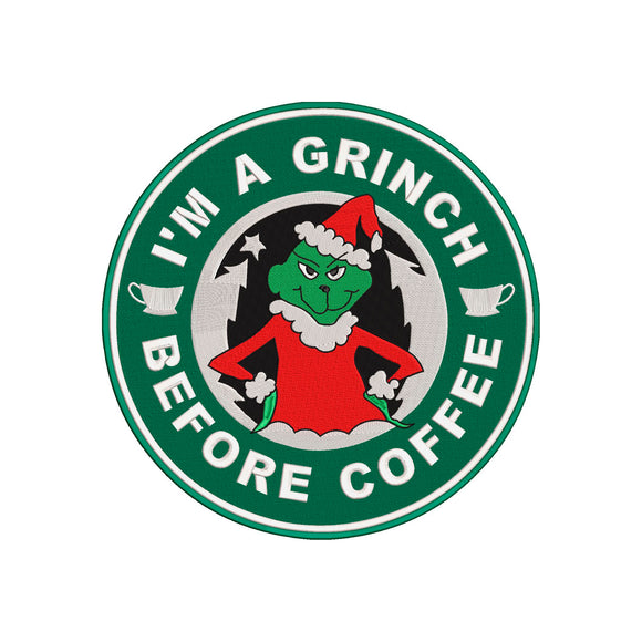 Inspired by The Grinch who stole Christmas & Starbucks Machine Embroidery File.  2 Sizes