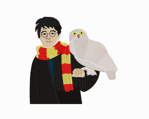 Harry Potter and Hedwig the Owl inspired Machine Embroidery Design. 4 Sizes