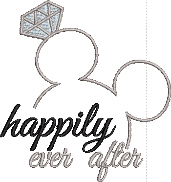 Disney Wedding inspired Machine Embroidery Design. Happily Ever After.
