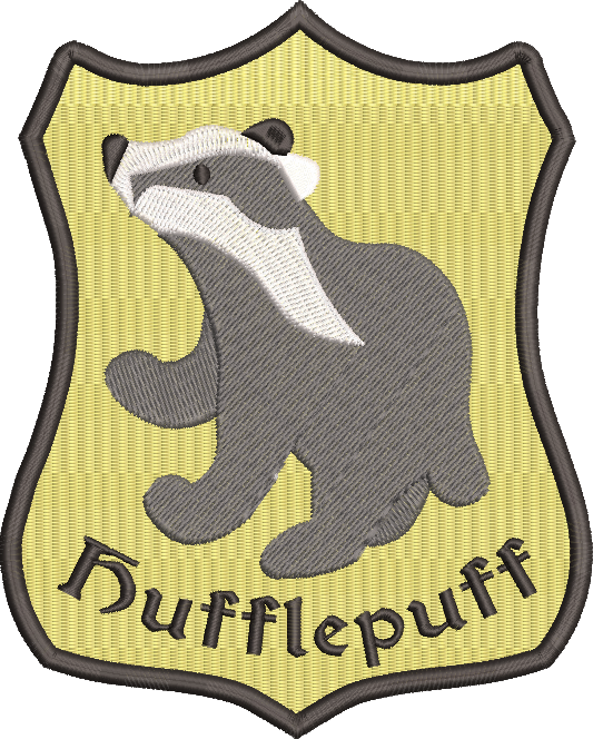 Harry Potter Hufflepuff inspired Machine Embroidery Design. 6 Sizes Both Filled and Applique