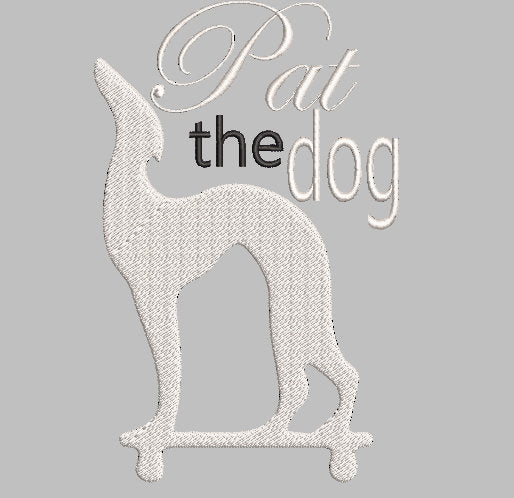 Friends TV inspired Machine Embroidery Design. Pat the Dog, Joey's Big White dog! 2 sizes. Files Can be personalized