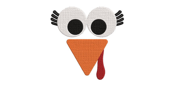 Machine Embroidery Digital File.  Fall Theme, Turkey Face. 2 sizes, 5
