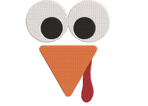 "Machine Embroidery Digital File.  Fall Theme, Turkey Face. 2 sizes, 5"" & 4"""