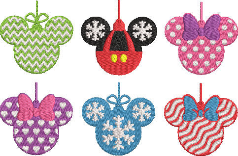Disney inspired Machine Embroidery Design. Christmas Ornaments, Mickey Minnie Silhouettes.