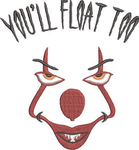 IT the Movie Inspired Machine Embroidery Design File. Pennywise Cute Design. 5x7 & 4x4 designs