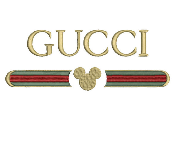 Gucci & Disney Mickey inspired Machine Embroidery Design. Embroidery File. 5x12 inch file