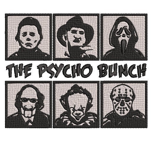The Psycho Bunch Horror Movie Inspired Machine Embroidery Design File. Pennywise, Jason, Michael, Ghoseface Freddie, . 5x7 & 4x4 designs
