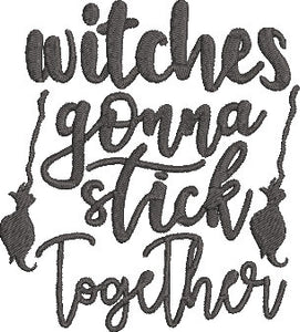 Hocus Pocus Movie Inspired Machine Embroidery Design File. Witches gonna Stick together!