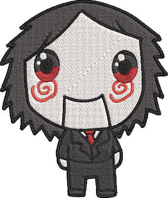 Saw Movie Inspired Machine Embroidery Design File. Billy the Puppet Cute Design. 5x7 & 4x4 designs