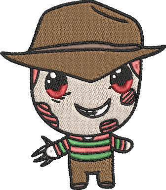 Nightmare on Elm Street Movie Inspired Machine Embroidery Design File. Freddy Kruger Cute Design. 5x7 & 4x4 designs