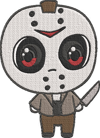Friday the 13th Movie Inspired Machine Embroidery Design File. Jason Voorhees Cute Design. 5x7 & 4x4 designs