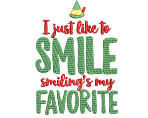 "Buddy the Elf.  Smiling is my Favorite.  Elf Christmas Movie Inspired Machine Embroidery File.  Two Sizes 4"" and 5""."