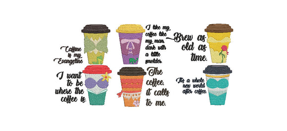 Bundle - Disney Princess Inspired Coffee Cups Machine Embroidery Designs. 6 Designs.