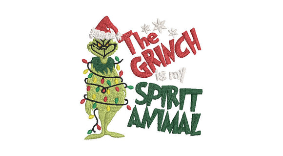 Inspired by The Grinch who stole Christmas Machine Embroidery File. The Grinch is my Spirit Animal.