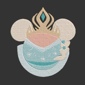 Disney inspired Machine Embroidery Files.  Mickey Ears Queen Elsa from Frozen. 2 Sizes.