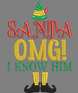 "Buddy the Elf. Santa OMG! I know him! Elf Christmas Movie Inspired Machine Embroidery File.  Two Sizes 4"" and 5""."