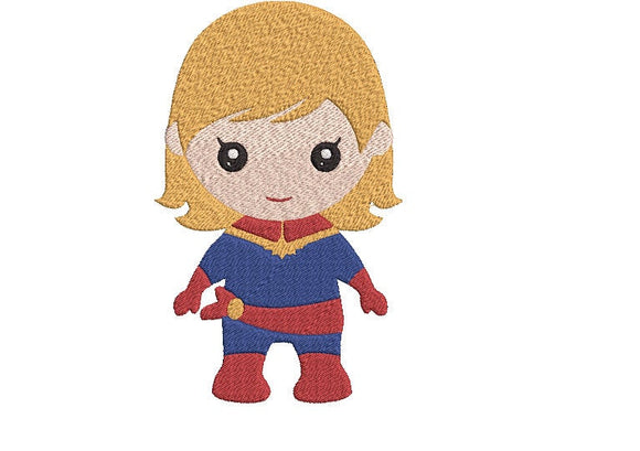 Avengers Captain Marvel inspired Machine Embroidery Design. 2 sizes Can be personalized