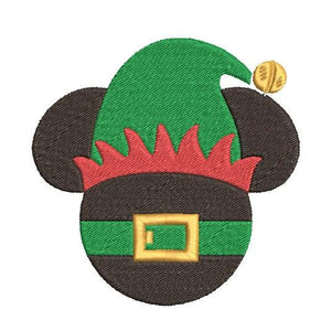 Disney Inspired Machine Embroidery Christmas Design. Mickey Head Elf Design.   2 Sizes.