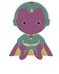 Avengers Vision inspired Machine Embroidery Design. 2 sizes Can be personalized