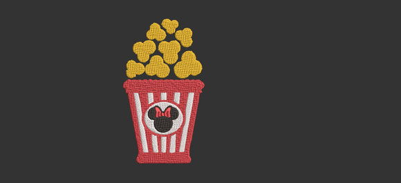 Disney Popcorn Snackin' inspired Machine Embroidery Design.   2 Sizes.