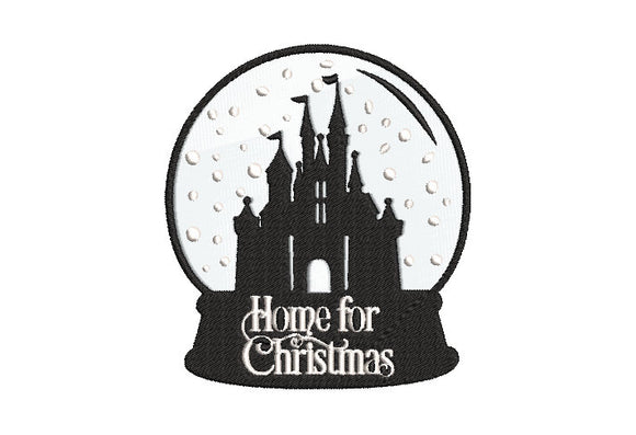 Machine Embroidery File Disney Inspired Disneyland Snow globe Home for Christmas 2 sizes.