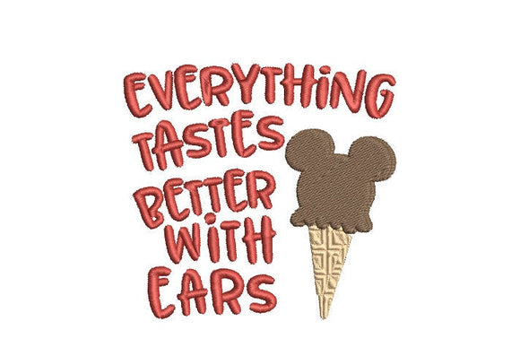 Disney Inspired Machine Embroidery Everything is better with  Ears! File 2 sizes.