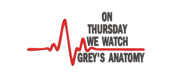 Grey's Anatomy Inspired Machine Embroidery Design. 2 sizes,