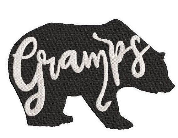Gramps Bear Machine Embroidery 5x7 and 4x4 sizes
