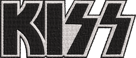 Kiss Rock Band inspired Machine Embroidery Design.  3 sizes