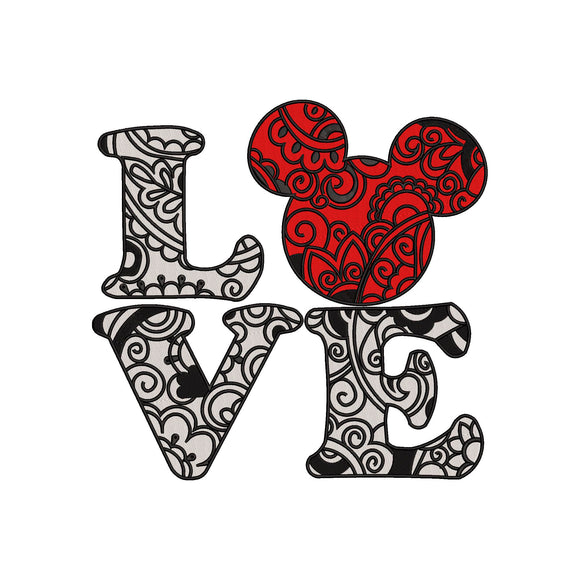 Mandala Mickey LOVE Machine Embroidery Design. Filled and Unfilled Designs, 4 Sizes