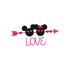 Disney Mickey & Minnie Valentine Hearts inspired Machine Embroidery Design. 5 Sizes Including Ball Cap Design.