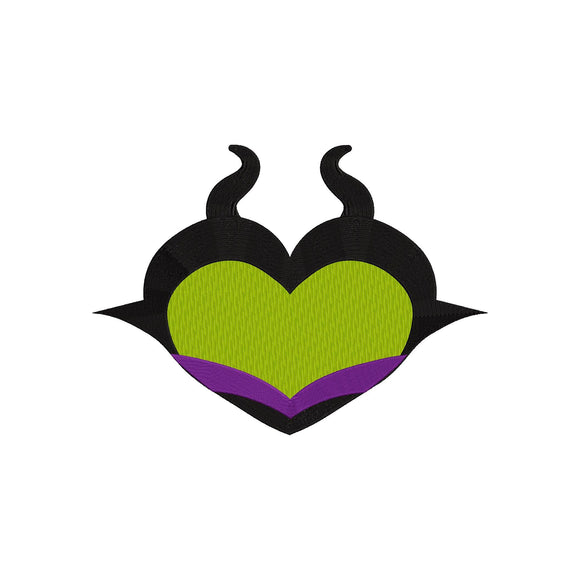 Disney Villain Maleficent as a Heart Machine Embroidery Design. 5 Sizes